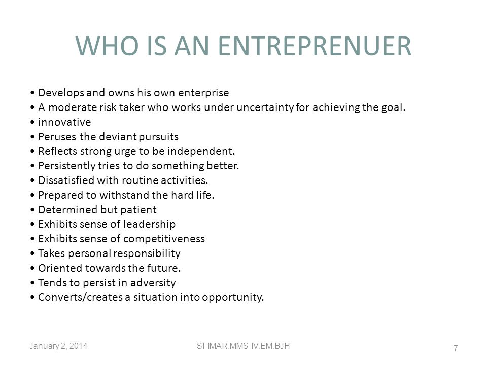WHO IS AN ENTREPRENUER