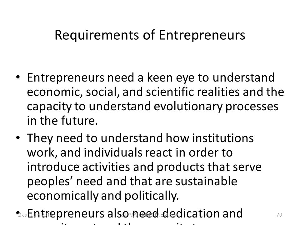 Requirements of Entrepreneurs