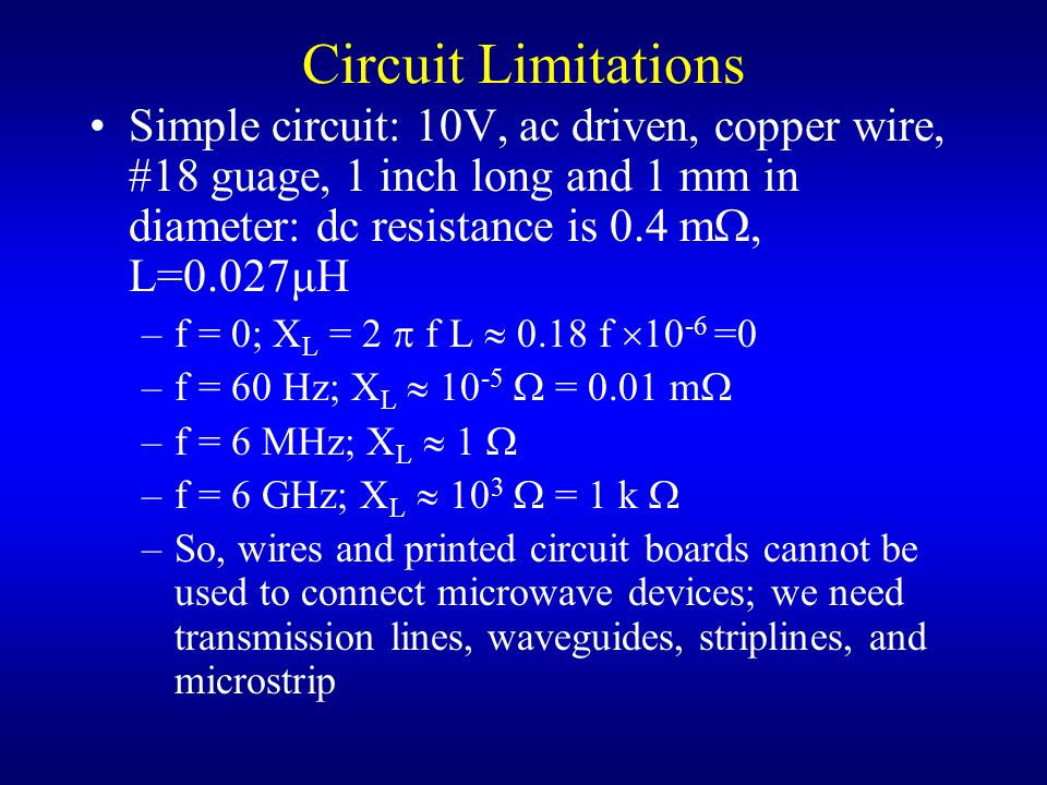 Circuit Limitations Simple circuit: 10V, ac driven, copper wire, #18 guage, 1 inch long and 1 mm in diameter: dc resistance is 0.4 m, L=0.027μH.