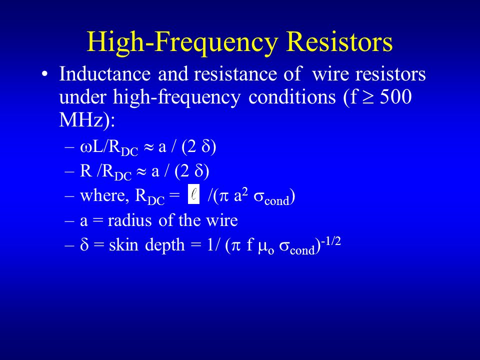 High-Frequency Resistors