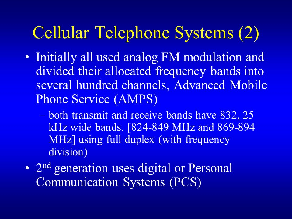 Cellular Telephone Systems (2)