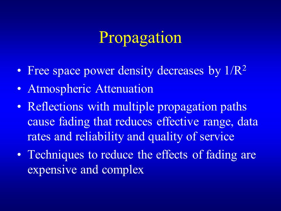 Propagation Free space power density decreases by 1/R2