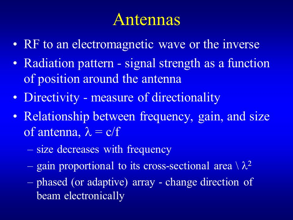 Antennas RF to an electromagnetic wave or the inverse
