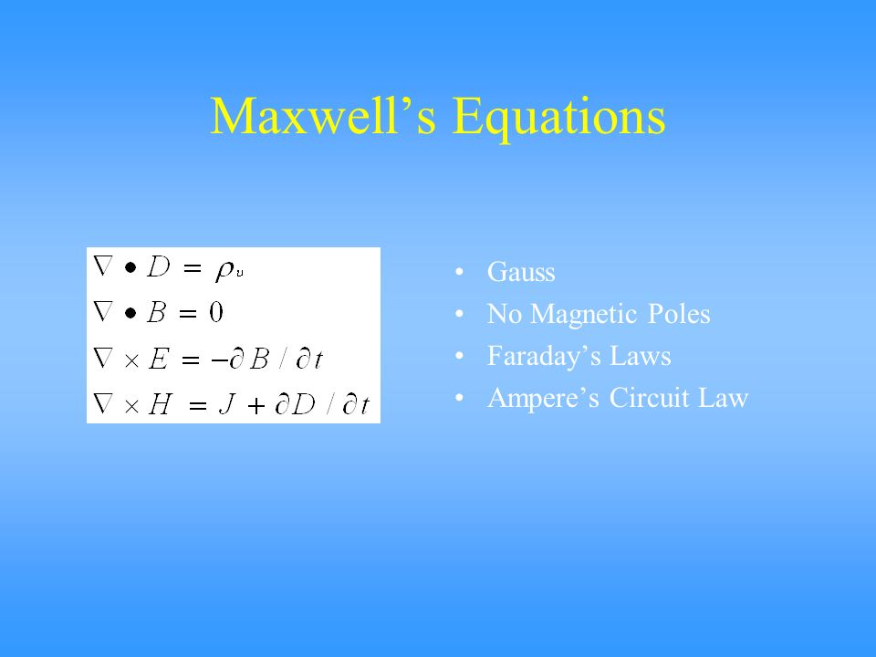Maxwell's Equations Gauss No Magnetic Poles Faraday's Laws