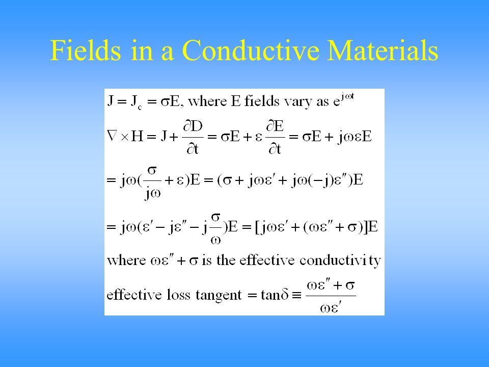 Fields in a Conductive Materials