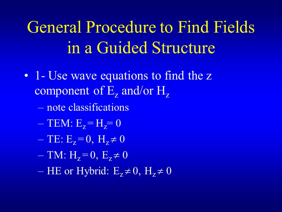 General Procedure to Find Fields in a Guided Structure