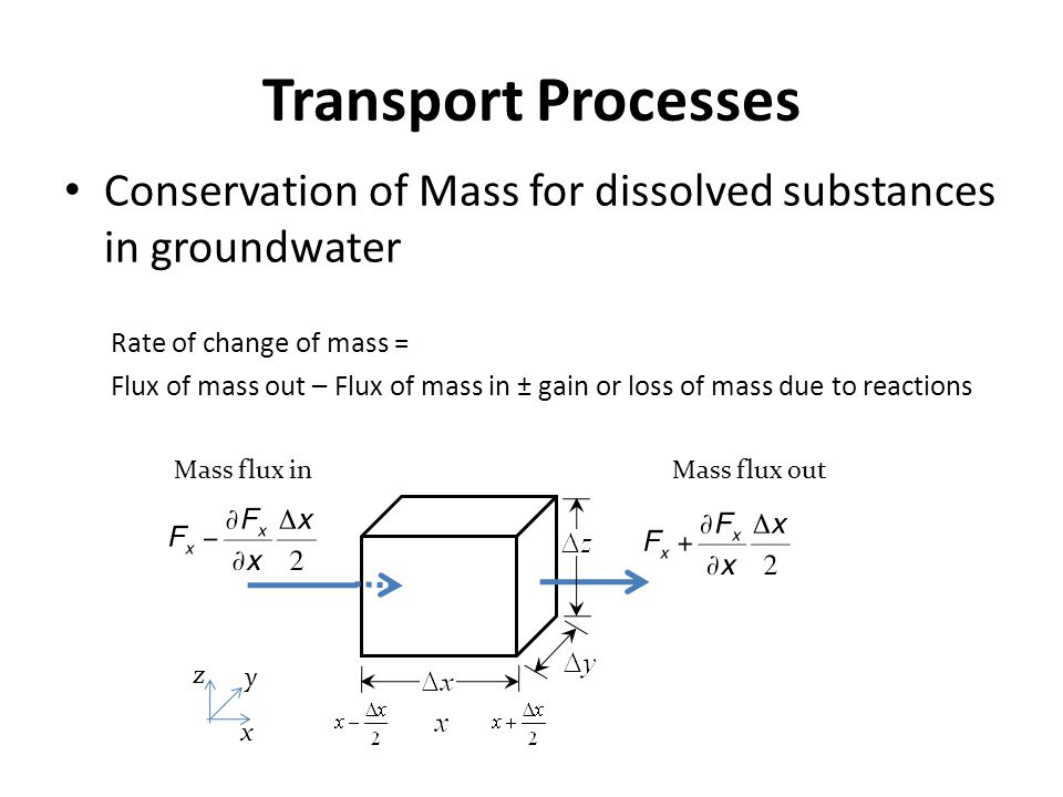Transport Processes Conservation of Mass for dissolved substances in groundwater. Rate of change of mass =