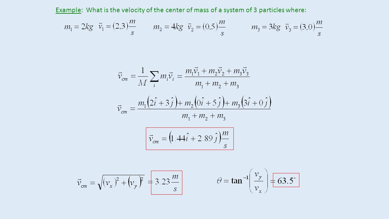 Example: What is the velocity of the center of mass of a system of 3 particles where: