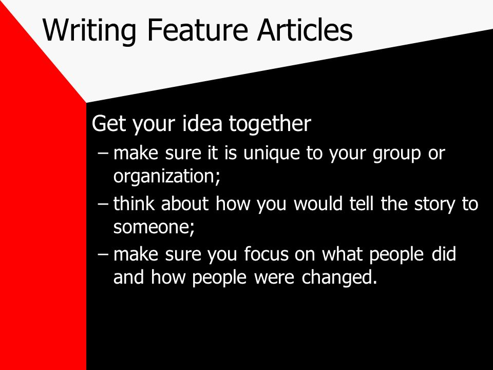 Writing Feature Articles