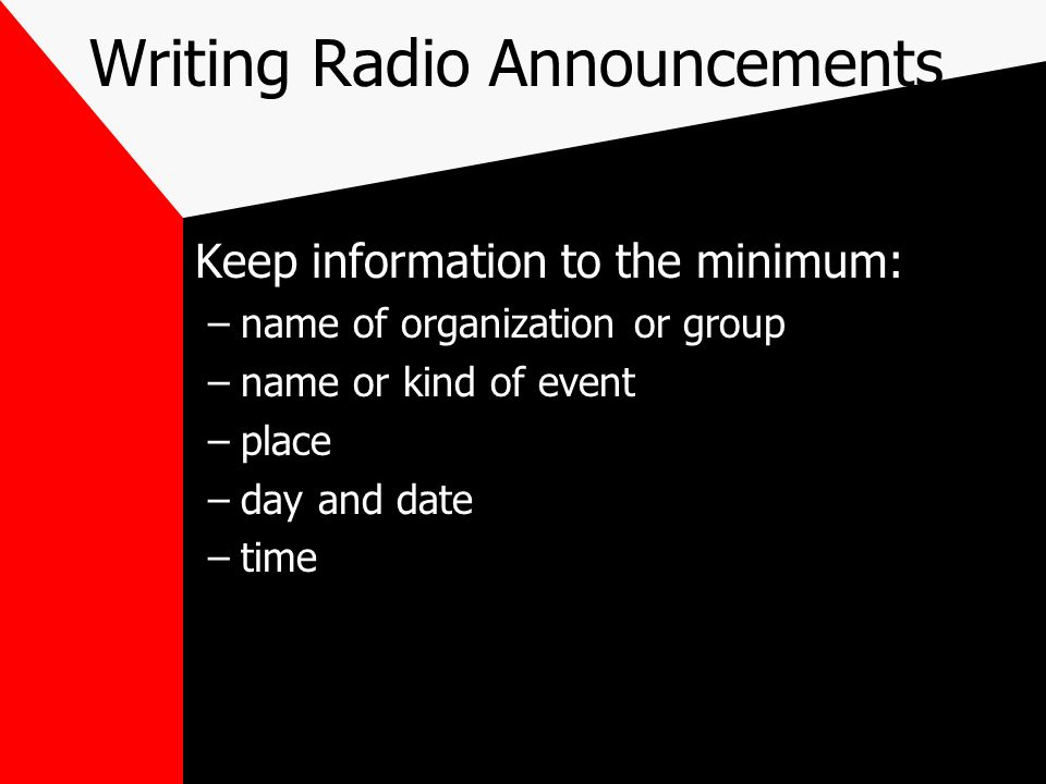 Writing Radio Announcements