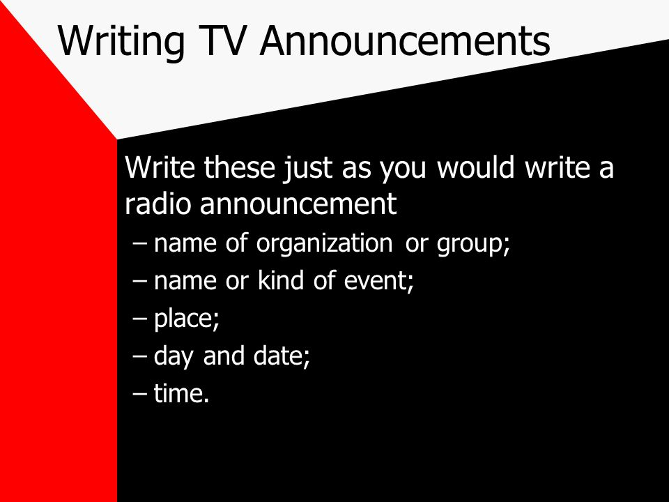 Writing TV Announcements