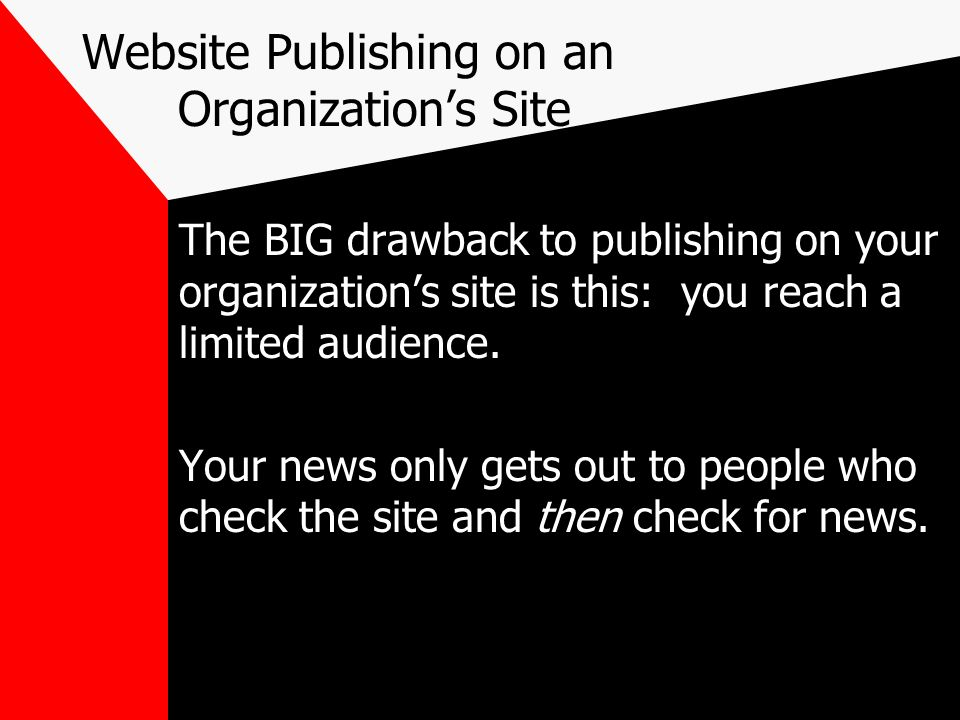 Website Publishing on an Organization's Site