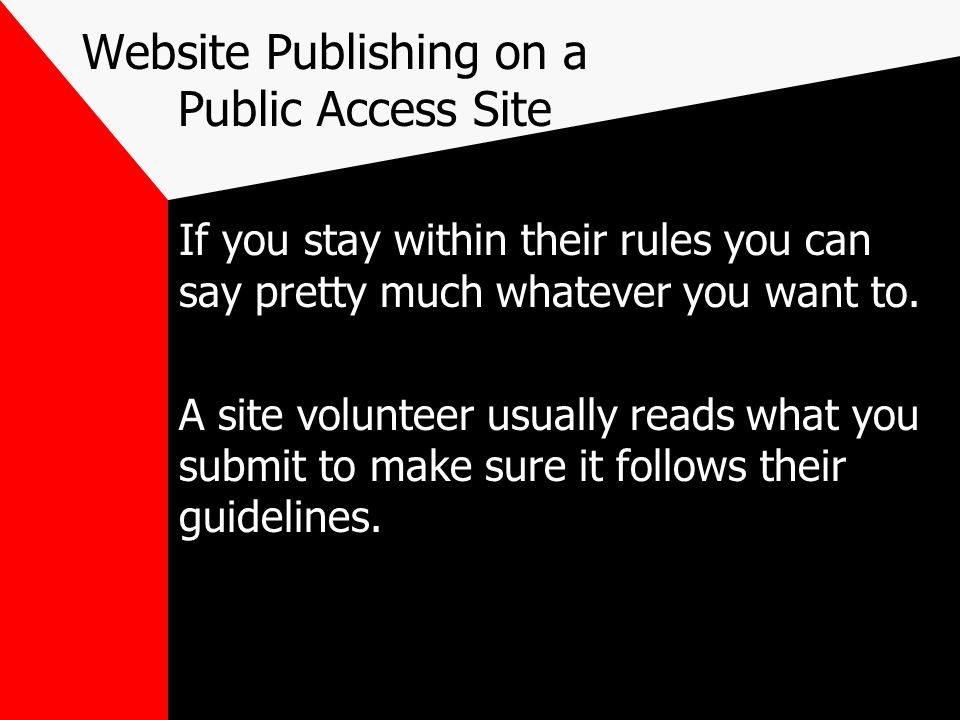 Website Publishing on a Public Access Site