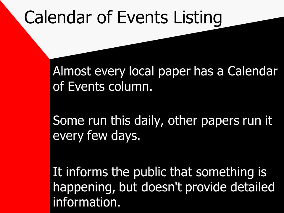 Calendar of Events Listing