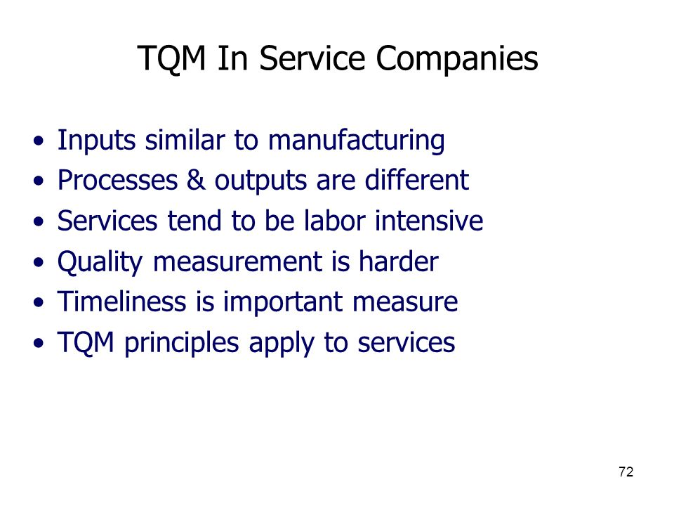 TQM In Service Companies