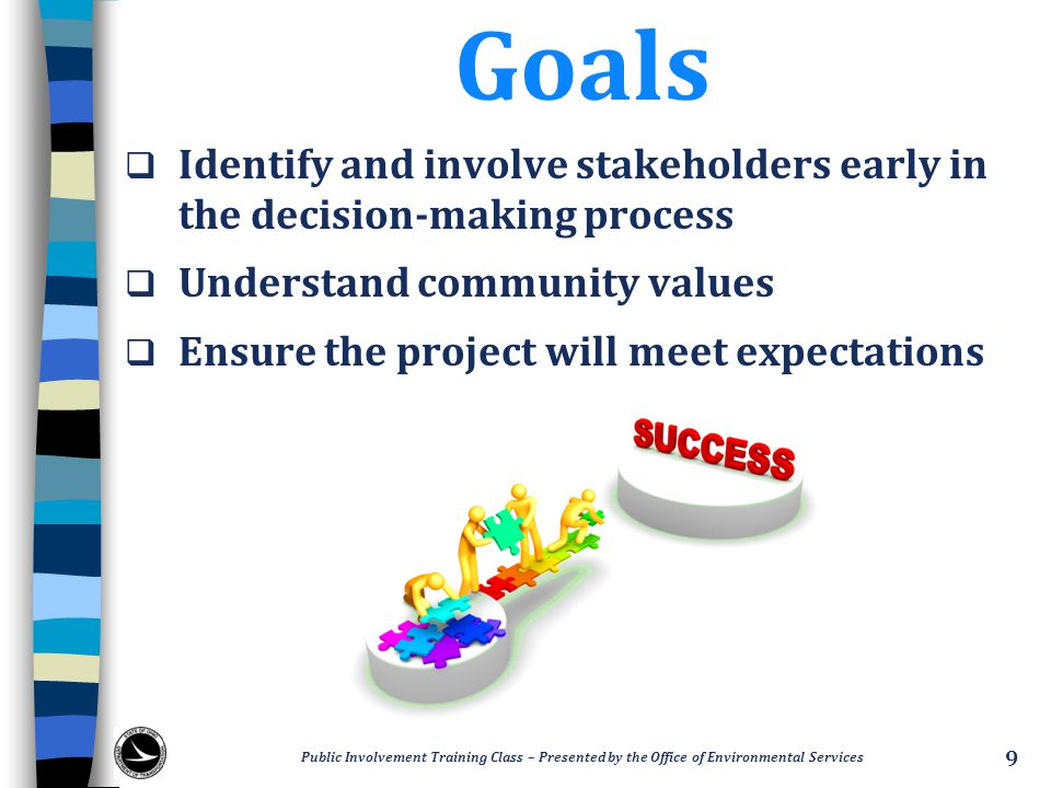 Goals Identify and involve stakeholders early in the decision-making process. Understand community values.