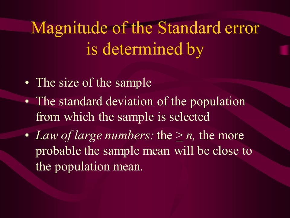 Magnitude of the Standard error is determined by