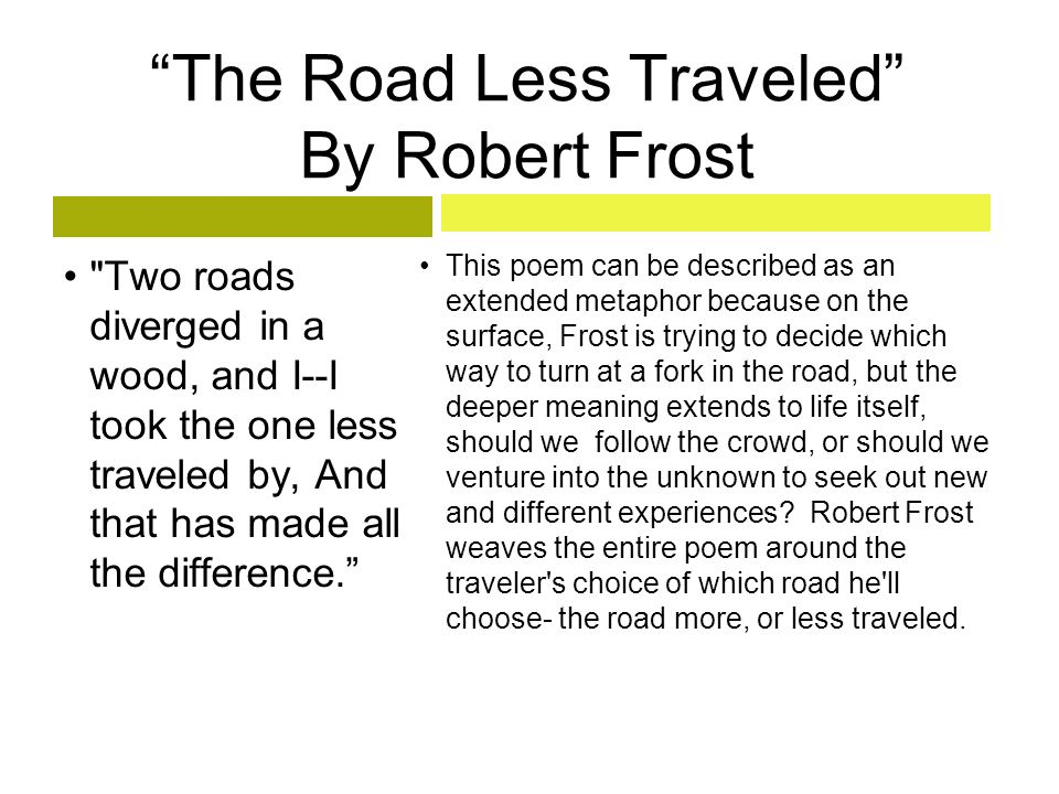 The Road Less Traveled By Robert Frost
