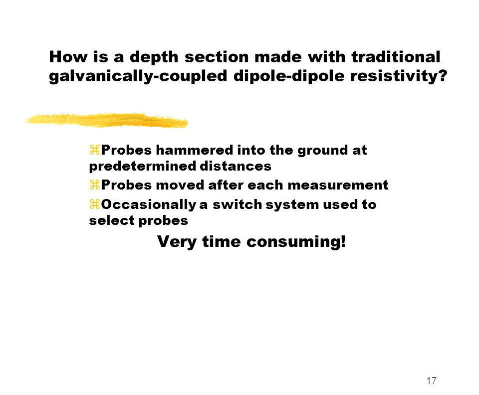 How is a depth section made with traditional galvanically-coupled dipole-dipole resistivity