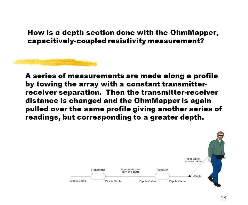 How is a depth section done with the OhmMapper, capacitively-coupled resistivity measurement