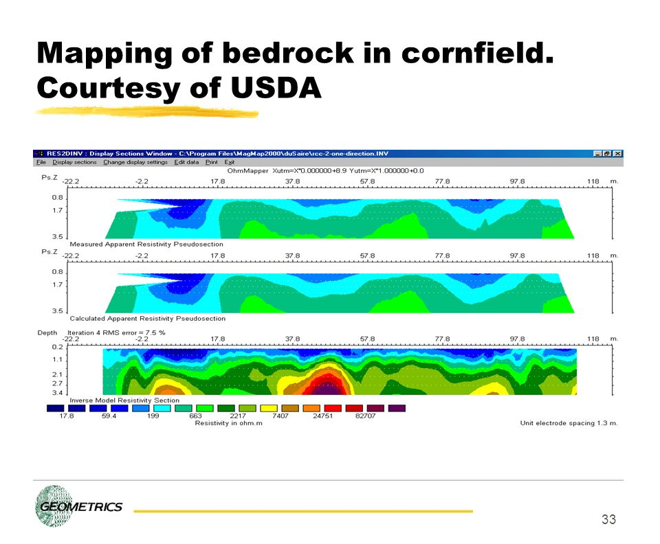 Mapping of bedrock in cornfield. Courtesy of USDA