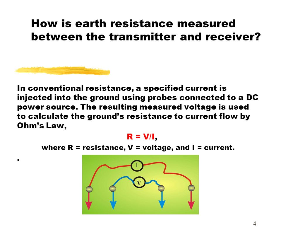 How is earth resistance measured between the transmitter and receiver
