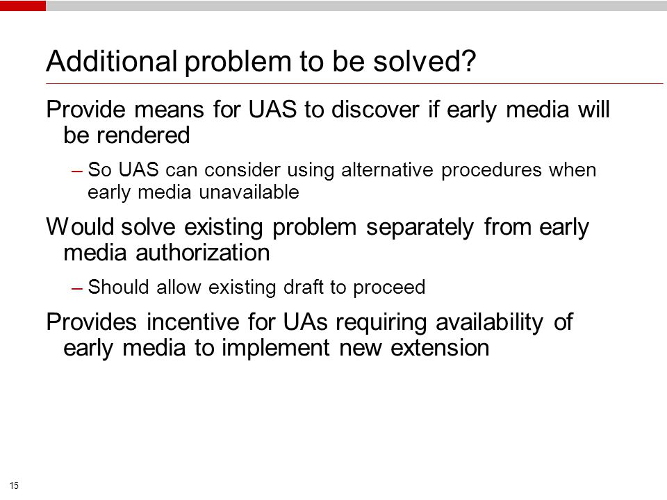 Additional problem to be solved