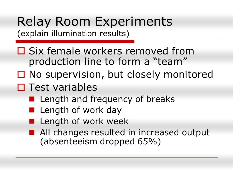 Relay Room Experiments (explain illumination results)