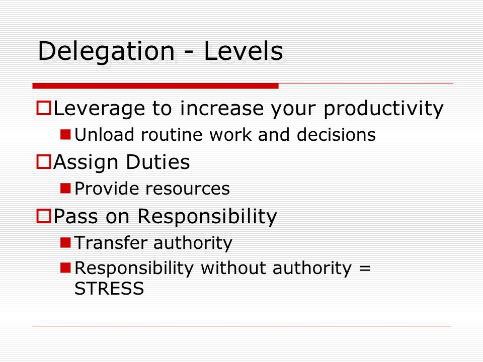 Delegation - Levels Leverage to increase your productivity