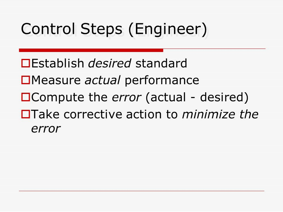 Control Steps (Engineer)