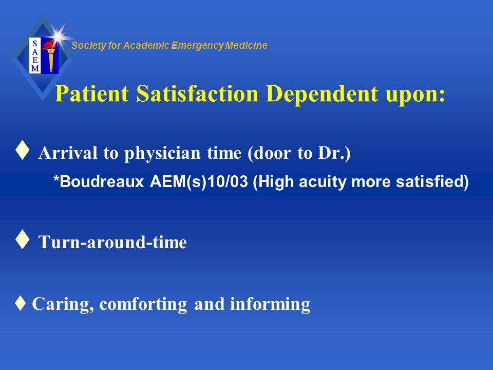 Patient Satisfaction Dependent upon:
