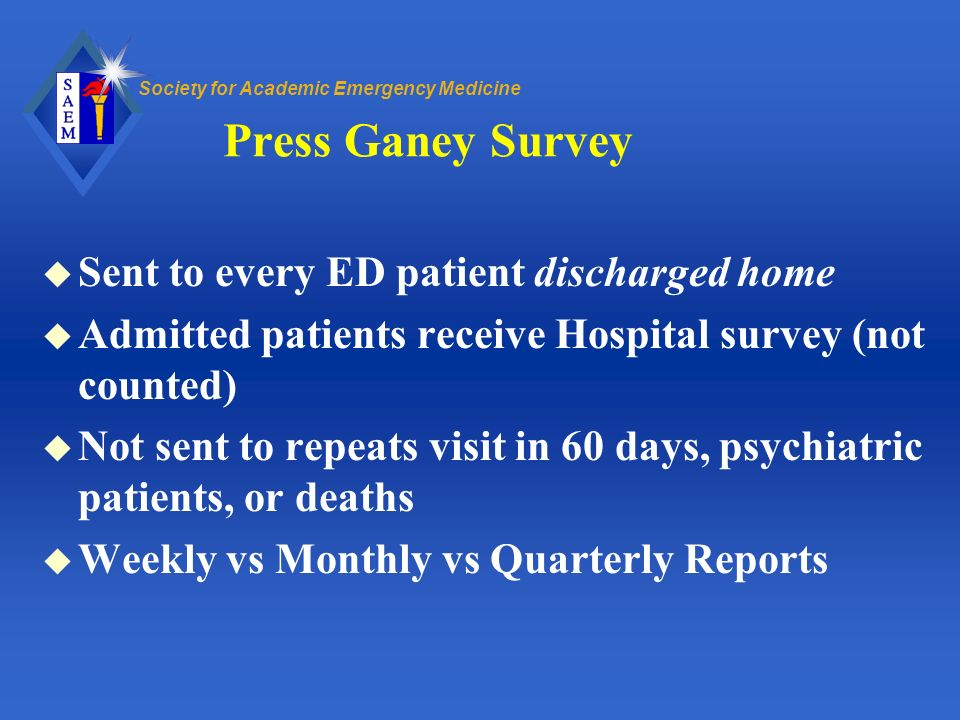 Press Ganey Survey Sent to every ED patient discharged home
