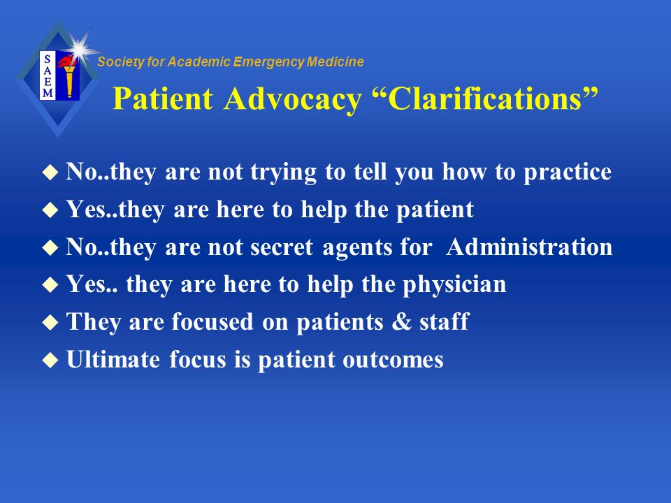 Patient Advocacy Clarifications