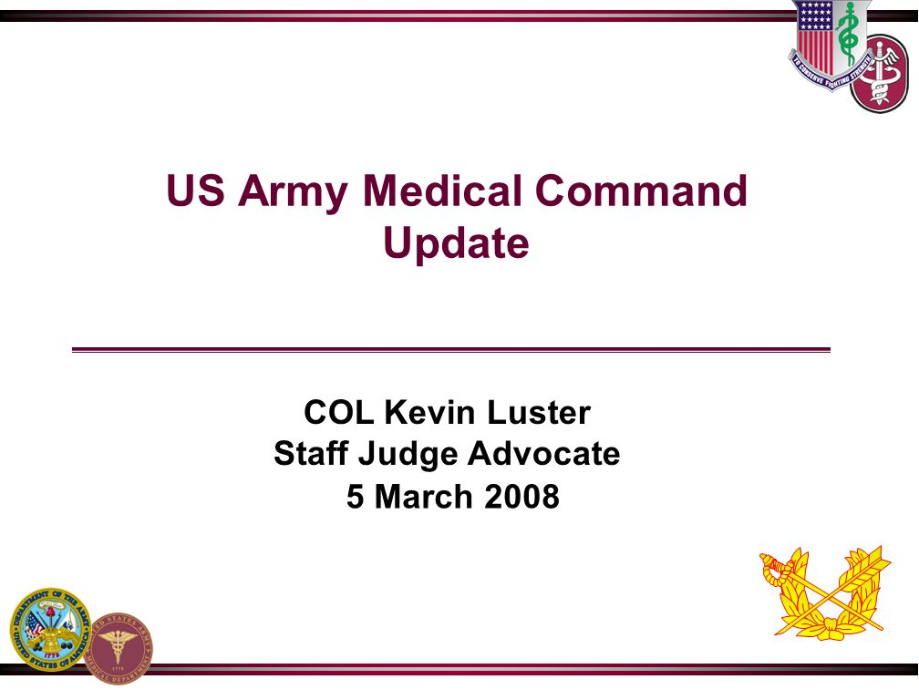 US Army Medical Command Update
