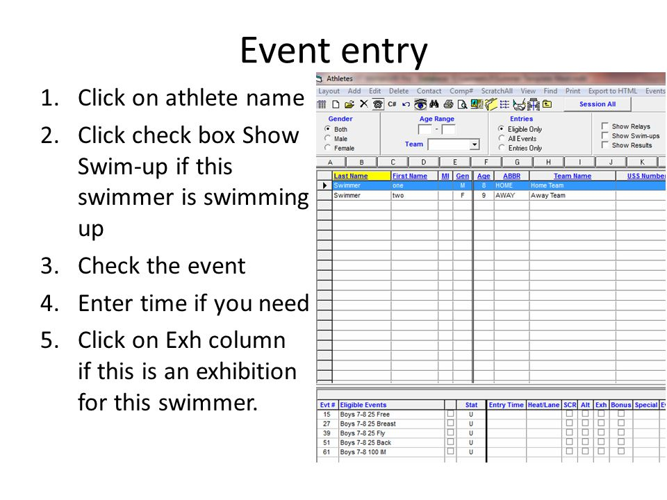 Event entry Click on athlete name
