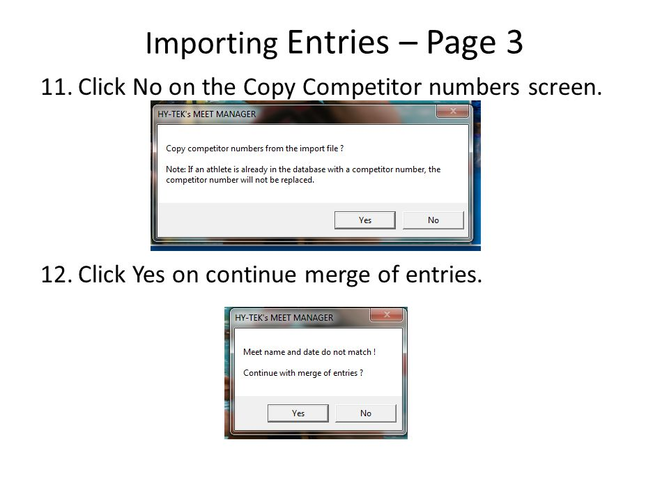 Importing Entries – Page 3