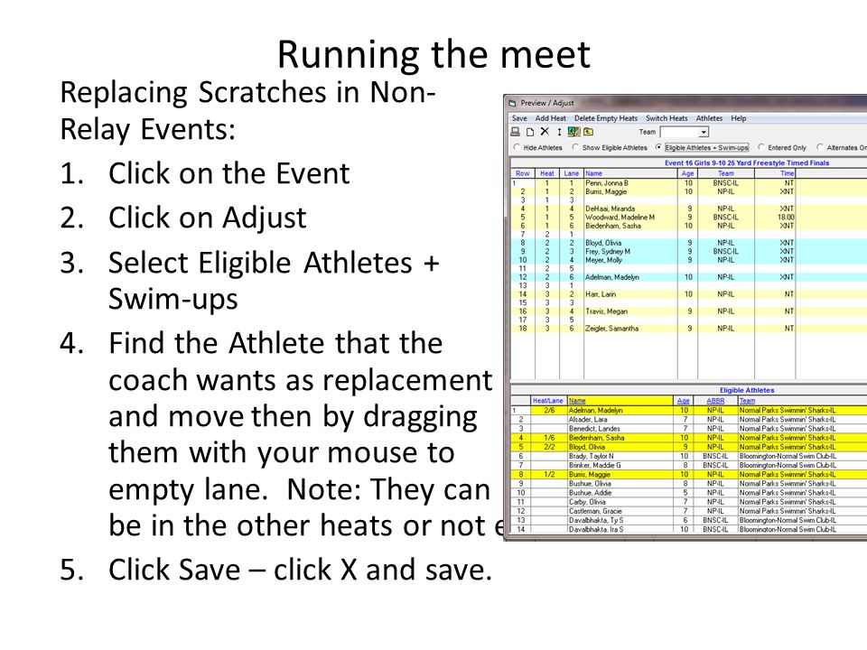 Running the meet Replacing Scratches in Non- Relay Events: