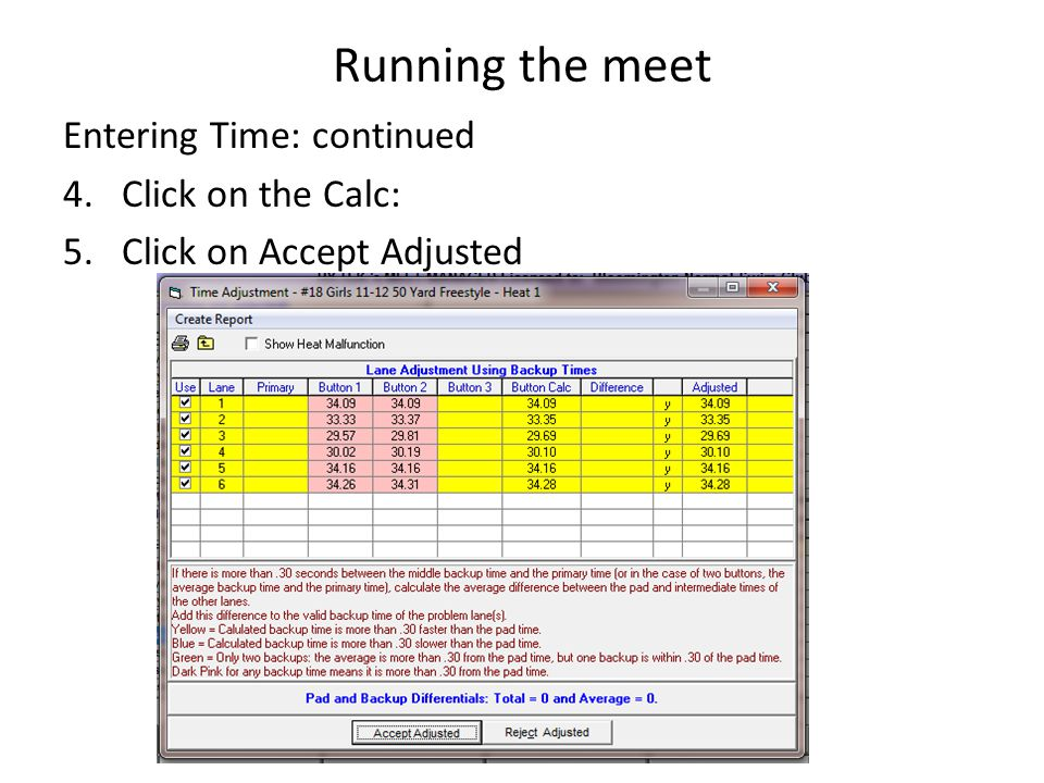 Running the meet Entering Time: continued Click on the Calc:
