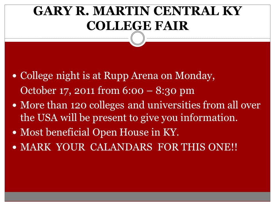 GARY R. MARTIN CENTRAL KY COLLEGE FAIR