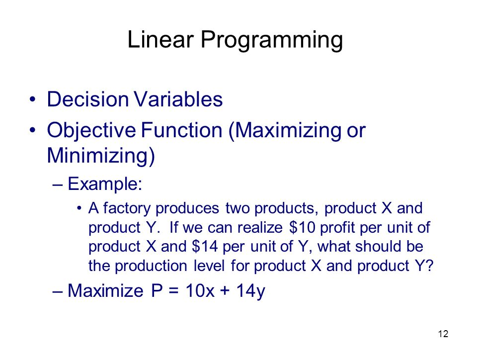 Linear Programming Decision Variables