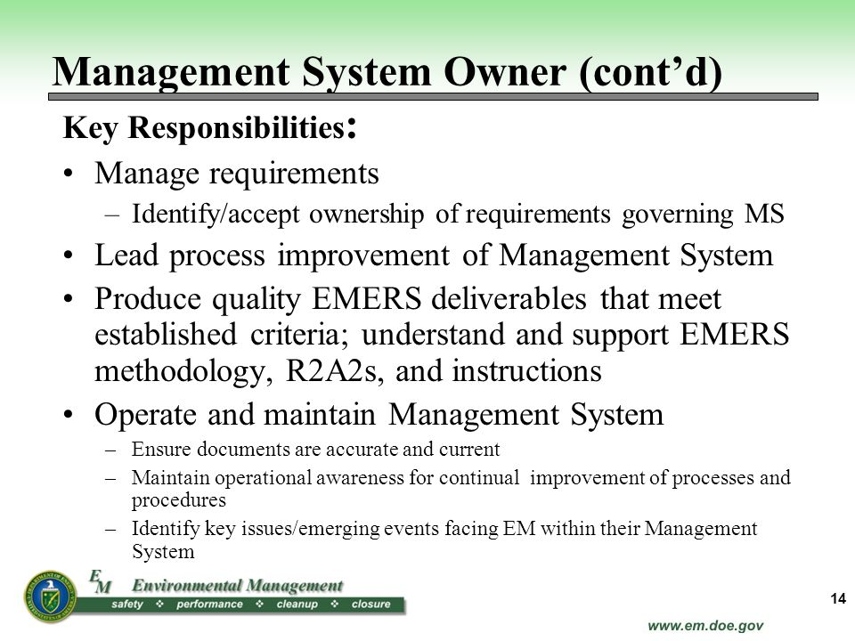 Management System Owner (cont'd)