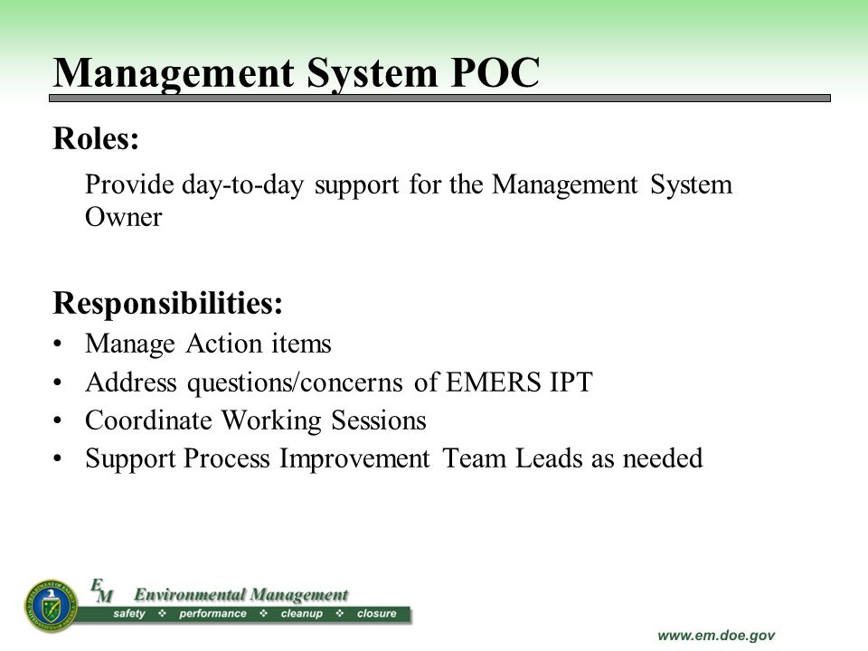 Management System POC Roles: