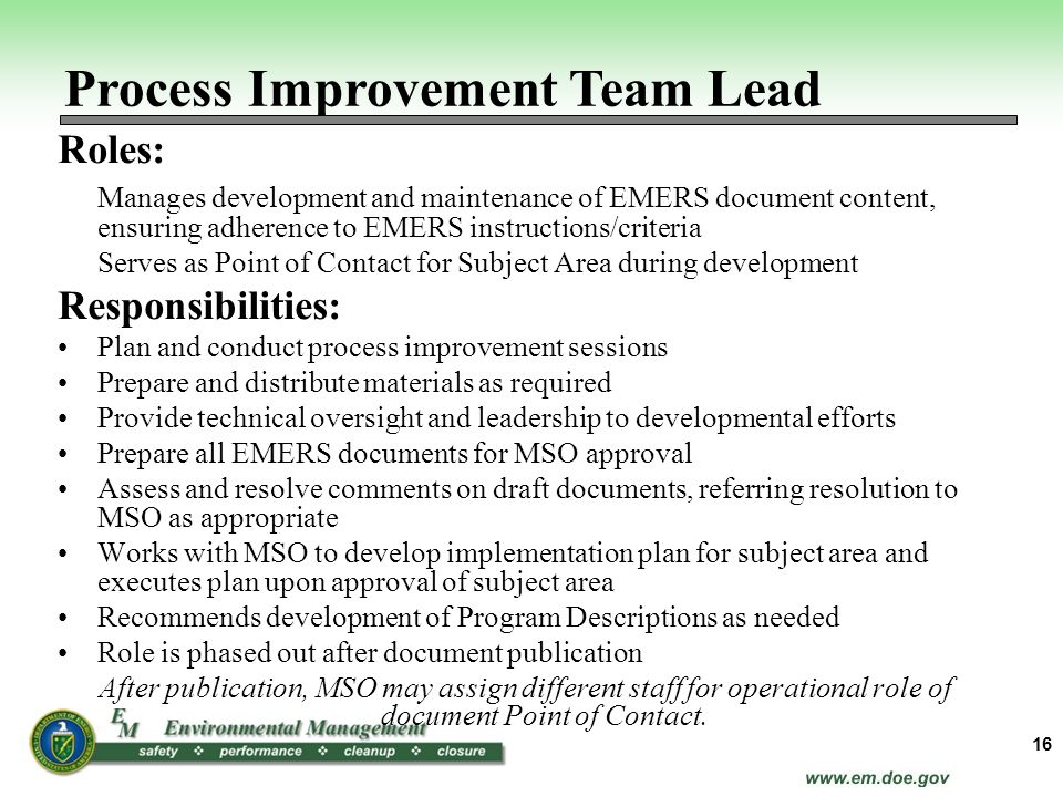 Process Improvement Team Lead