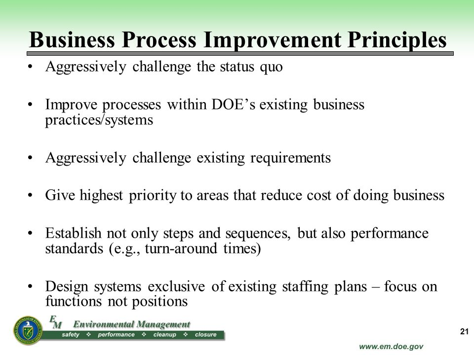 Business Process Improvement Principles