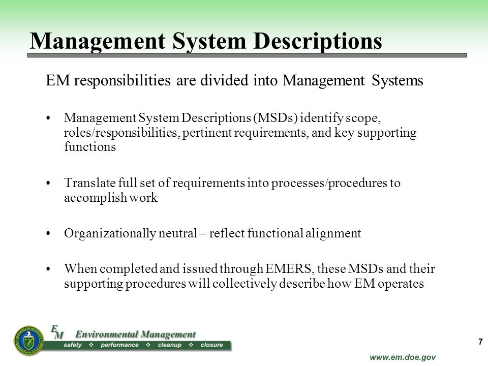 Management System Descriptions
