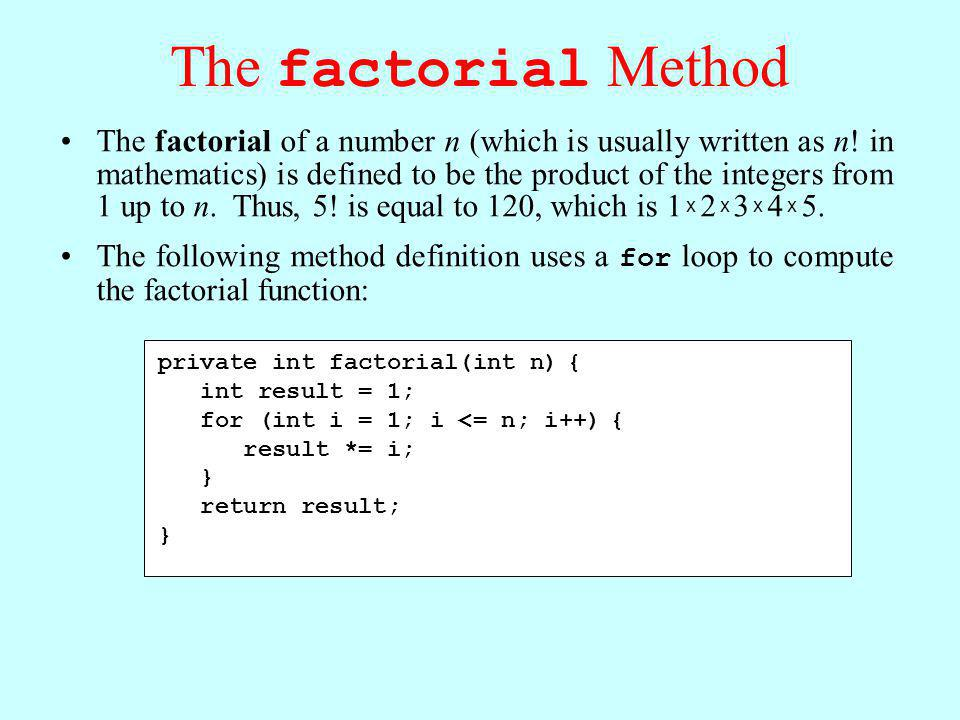 The factorial Method