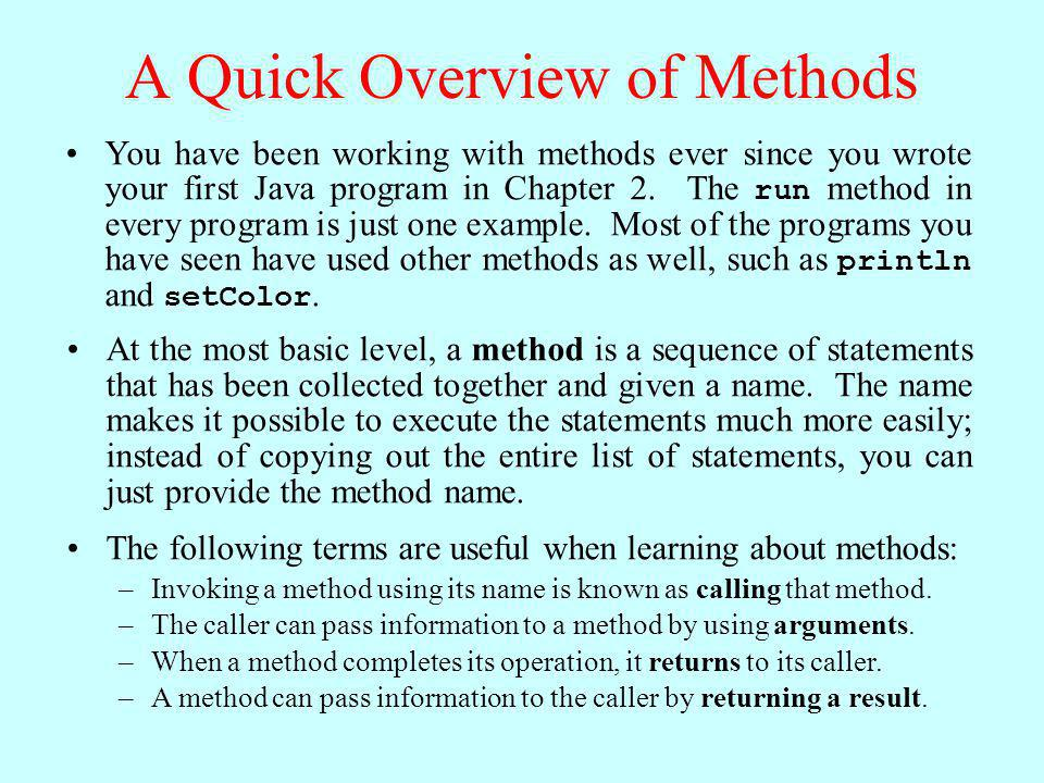 A Quick Overview of Methods
