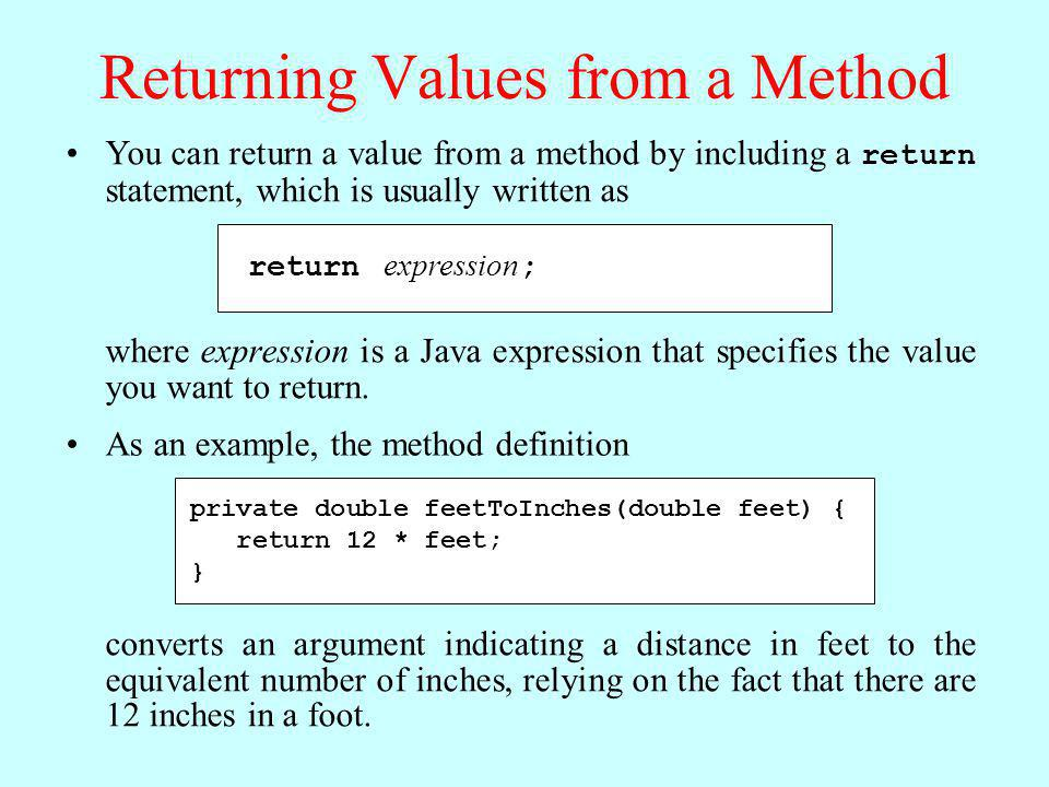 Returning Values from a Method