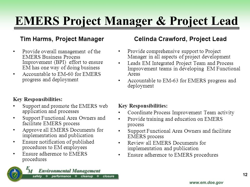EMERS Project Manager & Project Lead