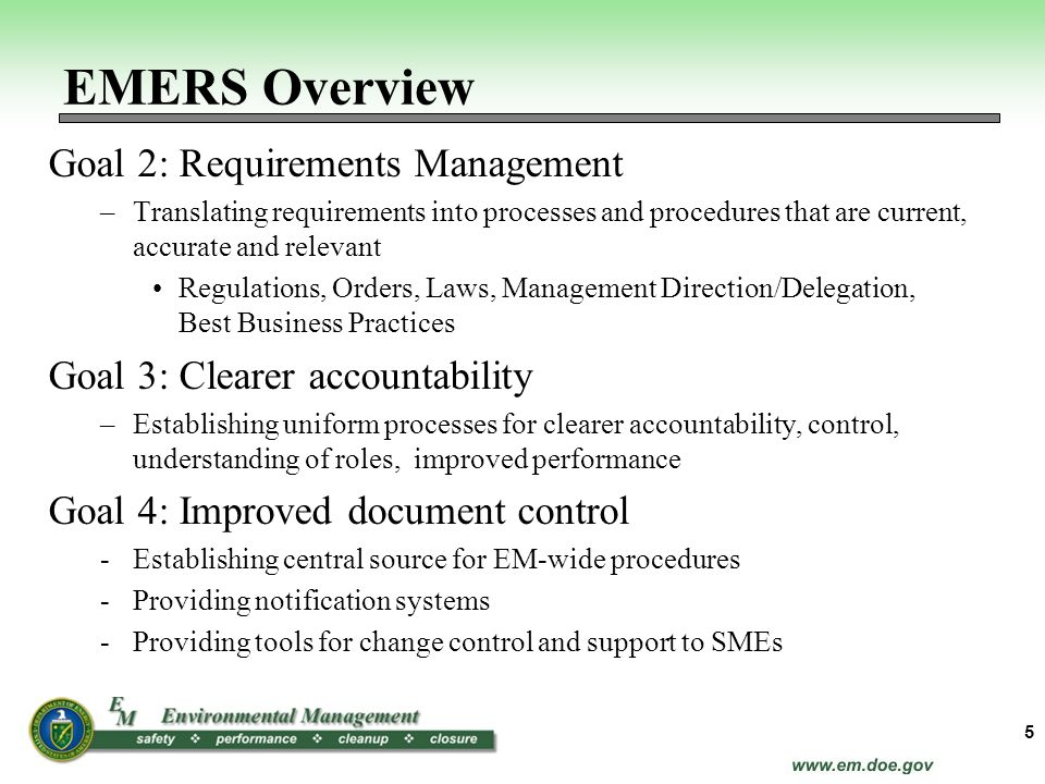 EMERS Overview Goal 2: Requirements Management